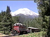 Enjoy spectaculat scenery while dining aboard the Shasta Dinner Train from McCloud to Mt. Shasta, CA
